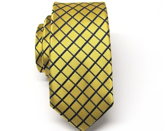 Mens Tie. Necktie Yellow Gold and Blue Checkers Mens Skinny Tie