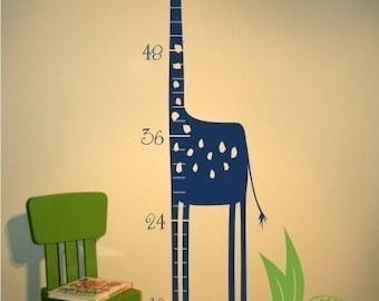 Nursery Giraffe Growth Chart Wall Decal - Nursery Vinyl Sticker Art Custom Home Decor