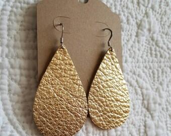 Genuine Leather Teardrop Earrings in Metallic Gold