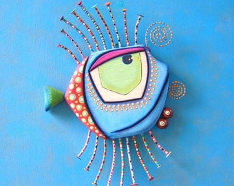 Blue Walleye, MADE to ORDER, Fish Wall Art, Original Found Object Wall Sculpture, Painted Sculpture, Wall Decor, by Fig Jam Studio