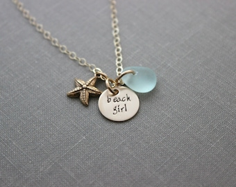Gold filled hand stamped beach girl necklace, Bronze Starfish necklace, genuine Sea Glass, 14k Gold Filled chain, Sea star jewelry - Summer