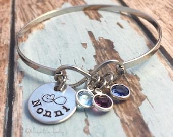 Mother ~ Mommy ~ Nonni ~ Mom ~ Godmother Bangle ~ Gemstone ~ Birthstone ~ New Mommy ~ Expecting Mother ~ Infinity Bracelet