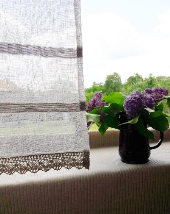 Leinen Café Vorhänge gestreiften Fensterscheiben Gold Spitze