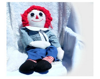 Large Handmade Raggedy Andy - Raggedy Andy doll- soft stuffed doll - traditional Raggedy Andy- 33 inch Raggedy Andy doll -  # 81