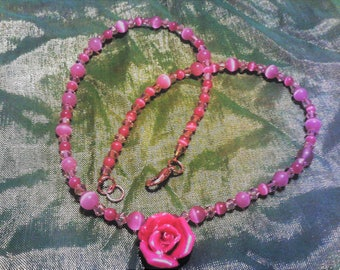 Handmade 17 inch pink cats eye and swarovski crystal necklace with rose pendant, feminine, gift for her, birthday gift, anniversary gift