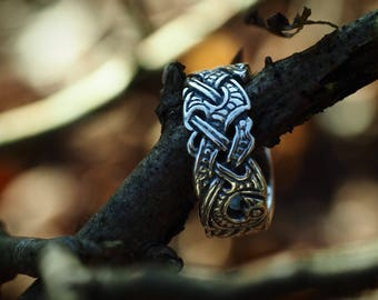 Viking Raven Ring in sterling silver