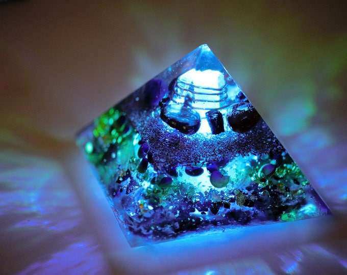 Featured listing image: Orgone Pyramid: Quartz, Copper, Carnelian, Blue Onyx, Hemetite, Black Tourmaline, Sea Shells, Gold, LED Light