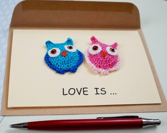 Love is Whimsical wedding card congratulations Owls card Wedding day card for husband Happy couple Engagement card Love card for bride