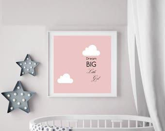 Framed Wall Art 'Dream Big Little Girl' Typography Inspirational Quote Framed Print  - 25cm x 25cm