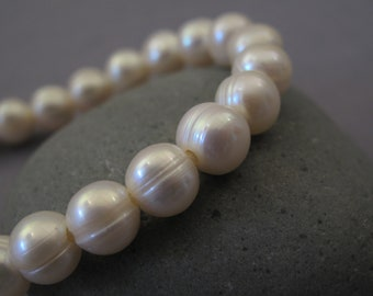 9-10mm Full Strand Large Hole Potato Natural Ivory White Freshwater Pearl Beads, 2.2mm Hole Genuine Natural Freshwater Pearl Beads (LHW-198)