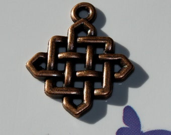25x21mm-Charm-Pendant-Celtic Knot- Antiqued Copper-Renaissance Charm-Lead Nickel Free Base Alloy-Beading Supplies-Jewelry Making Supplies