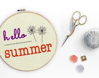 Hello Summer Embroidery Design 5x7 Machine Embroidery Designs Inspirational Original Digital File Download Hoop Pillow Wall Art