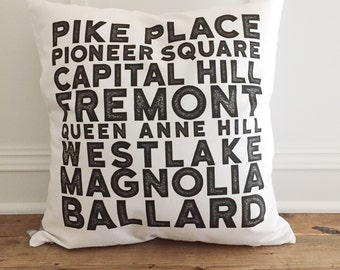 Seattle Suburbs Pillow Cover (Pike Place)