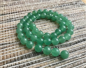 8mm Green Aventurine, round gemstone beads, full strand, green beads, jewelry supply