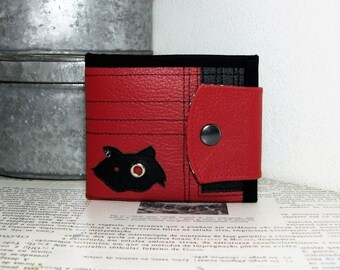 Hollow Cat, Handmade Personalized Wallet, Black Cat, Patchwork, Vegan Friendly, Vegan Leather, Leather Wallet, Unique Wallet, UNUSUAL