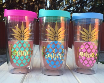 Personalized Bridesmaids Pineapple Tumbler  Bridesmaid Gift   Mothers Day Gift