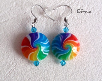 Earrings round lenses with Rainbow colors with polymer clay swirls