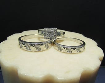 925 Fine Silver Wedding Band set of 3 with synthetic Zirconias