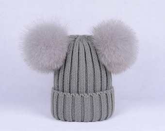 double poms hats Custom Children/Adult Hats Knit Gray Hat with Fox Puffs Ball Double Pom Poms Beanies Baby Hats Fluffy