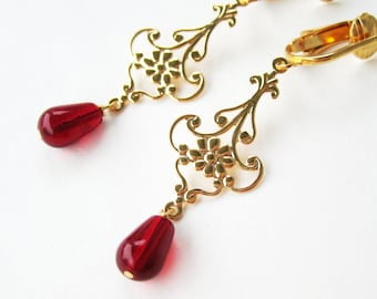 Gold and Red Clip-on Earrings, Golden Teardrop Flower, Dark Red Glass Drop Clipons, Burgundy Dangle Clip Non Pierced Earring, Maryanne Gold