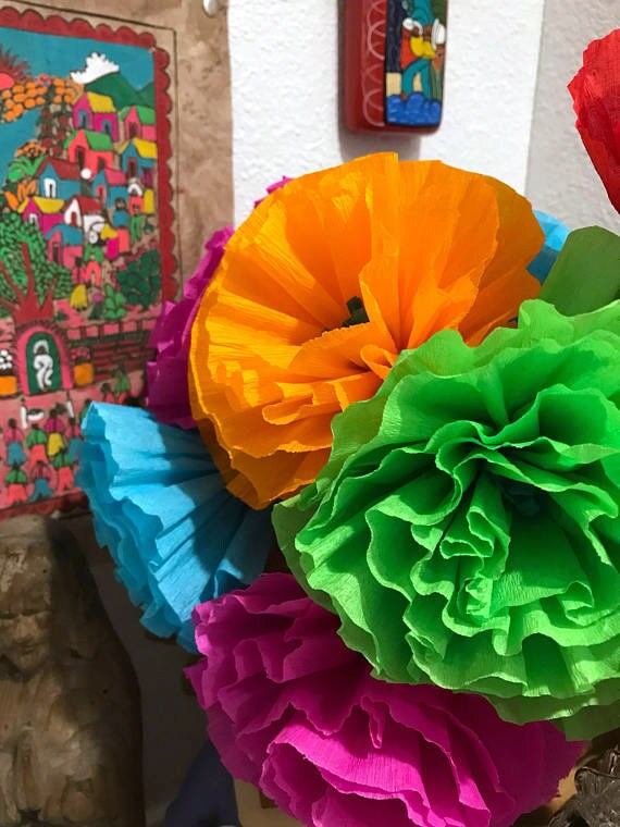 Mexican paper flowers photo wall crepe paper pom poms mexican paper flowers photo wall crepe paper pom poms multicolor wedding flowers bridal bouquet mightylinksfo