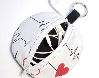 Earbuds Case, Earbud Pouch, Earbud Purse, Earbud Keychain, Fabric Earbud Case, Coin Purse, Earbuds Holder, Earbuds Pouch Keychain, EKG