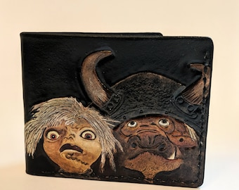 One of a Kind - The Labyrinth Inspired Hand Tooled Leather Goblin Wallet