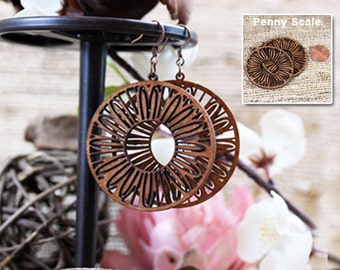 Laser cut wood earrings, Light weight recycled wood jewelry- whimsical jewelry, mom, mothers day, surgical steel ear wires
