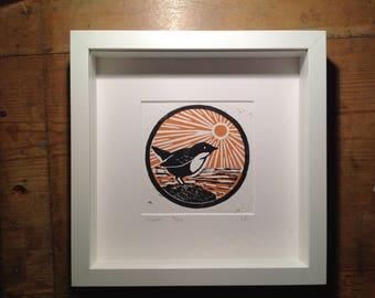 Framed dipper original lino print