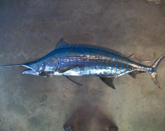 Blue Marlin Metal Fish Wall 68in sculpture  Beach Coastal Tropical Art