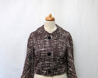 1950s Vintage Silky Cropped Jacket / Black & White Abstract Geo Jacket