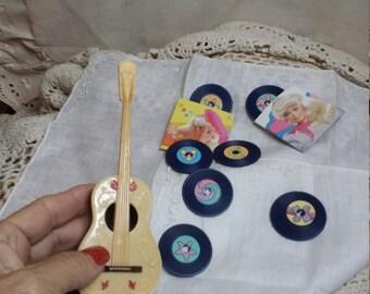 Barbie. Guitar. Record. Album. Music. Cake topper. Accessories. Miniatuures. Gift for her.