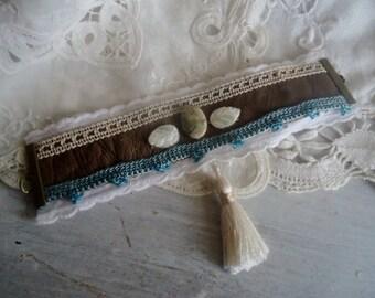 Cuff bracelet  boho style , Gemstones Bracelet ,shabby chic bracelet,