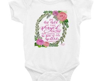 Floral Wreath 1 Samuel 1:27 For this Child We Prayed Onesie Baby Bodysuit