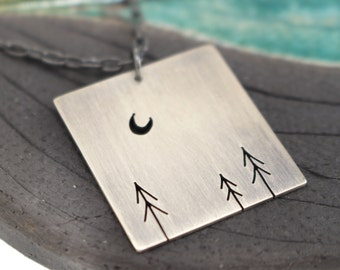 Forest of Three Pines and Crescent Moon Tree Art sterling silver statement pendant