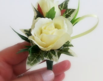 Faux Wedding Boutonniere - Anniversary Boutonniere - Prom Boutonniere - Pale Yellow Spray Roses Boutonniere