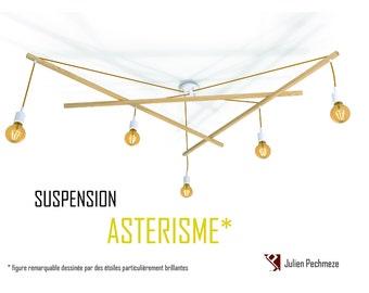 Lustre Asterism*, white and mustard scandinavian chandelier