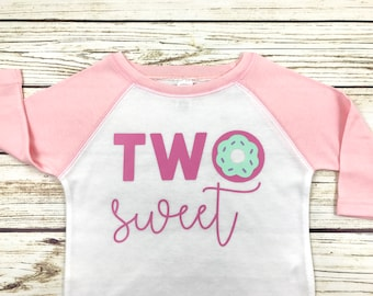 Two Sweet Donut Design Raglan Tee for Second Birthday Girl 2 Year Old Shirt