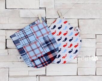 Burp Cloth, Nautical Paid Burp Cloths, 100% Cotton, Flannel Burp Cloths, Baby Burp Cloths, Newborn Set, Set of 2 Burp Cloths, Blue, Kids
