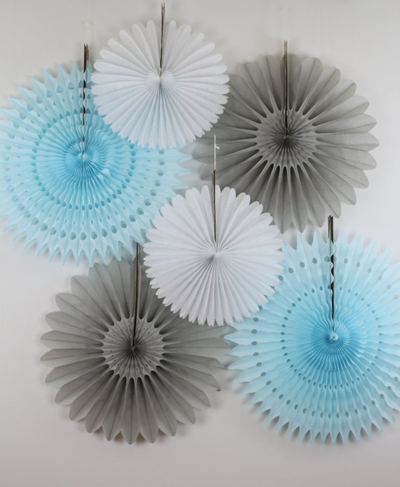 Baby shower decorations 6 tissue paper fans decor kit baby for Baby shower decoration kit