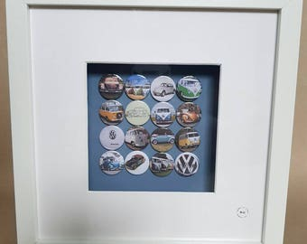 VW camper van's & Beetle cars, mix of both with the badge/logo, soft top Beetle etc