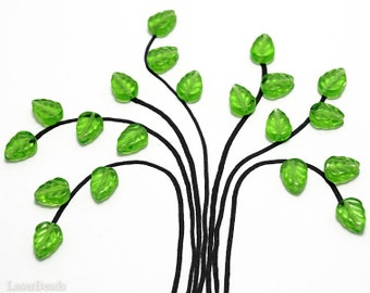 Bright Grass Green Czech Glass Leaf Beads 10mm (20) Pressed Leaves Tree jewelry making craft supplies