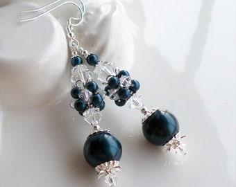 Dark Blue Pearl Earrings, Navy Blue Earrings, Swarovski Crystal Earrings, Long Pearl Earrings, Crystal Cluster Earrings, Navy Silver Jewelry