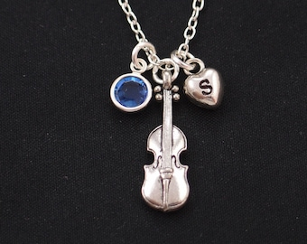 violin necklace, sterling silver filled, initial necklace, birthstone necklace, gifts for classical music lover, violin player jewelry, gift