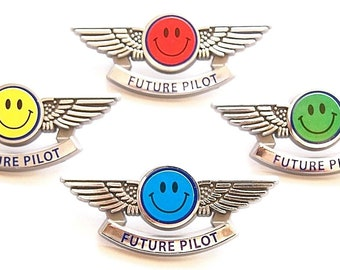 Future Pilot Wing Pins Happy Face Party Favors 4 Colors