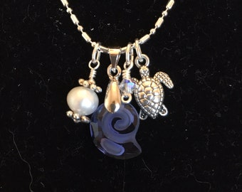Sapphire Blue Swarovski Crystal Nautilus Shell Charm & Pearl Necklace