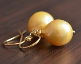 Yellow Pearl Earrings, Gold Filled, Drop Earrings, Real Freshwater Pearls, Elegant Summer Jewelry, Fashion Accessory, Free Shipping