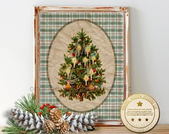 Christmas plaid printable, Christmas wall art, Christmas printable, Vintage Old Christmas, Classic Christmas art, printable wall art, plaid