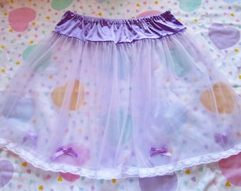 Sheer skirt, lavender pastel slip retro lingerie fairy kei drag queen size L XL Extra Large bridal gift