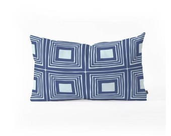 Oblong Lumbar Throw Pillow, navy blue, light blue, square design, geometric, couch, bedroom, chair. home decor, apartment, modern